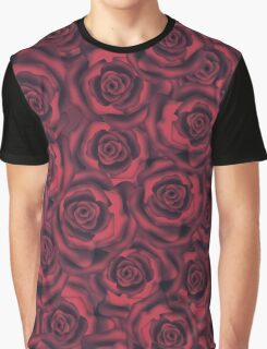 Seamless flowers of dark red roses pattern print background Graphic T-Shirt