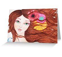 Green eyed girl with bird Greeting Card