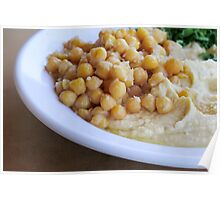 Hummus. A Levantine Arab dip or spread made from cooked, mashed chickpeas,  Poster