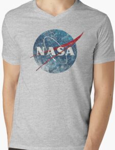 NASA Space Agency Ultra-Vintage Mens V-Neck T-Shirt