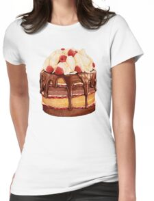 Chocolate Raspberry Cake Pattern Womens Fitted T-Shirt