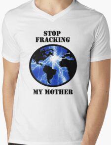 STOP FRACKING WITH HER Mens V-Neck T-Shirt