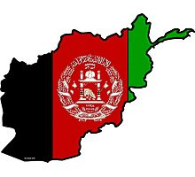 Afghanistan Map With Afghan Flag Photographic Print