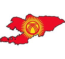 Kyrgyzstan Map With Kyrgyzstani Flag Photographic Print