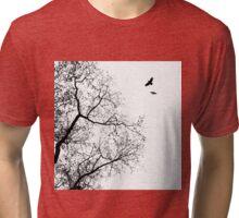 Design 24 Bird Crow Raven Tree Tri-blend T-Shirt