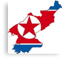 North Korea Map With North Korean Flag Canvas Print