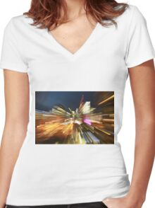 Light trails of Brisbane Women's Fitted V-Neck T-Shirt