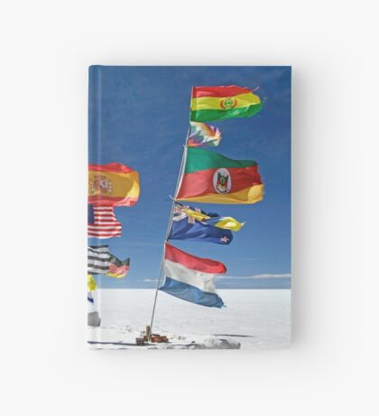 Flags in Salar Uyuni deser Hardcover Journal
