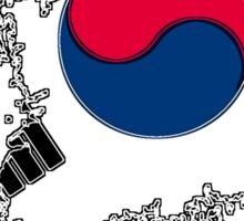 South Korea Map With South Korean Flag Sticker