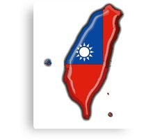 Taiwan Map With Taiwanese Flag Canvas Print