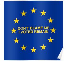 Don't blame me, I voted Remain Poster