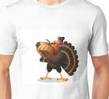 Cartoon turkey holding huge pumpkin Unisex T-Shirt