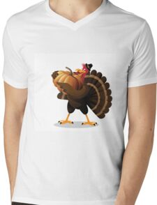 Cartoon turkey holding huge pumpkin Mens V-Neck T-Shirt