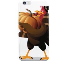 Cartoon turkey holding huge pumpkin iPhone Case/Skin