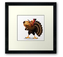 Cartoon turkey holding huge pumpkin Framed Print
