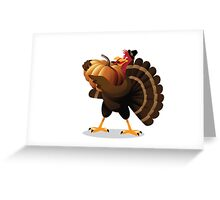 Cartoon turkey holding huge pumpkin Greeting Card