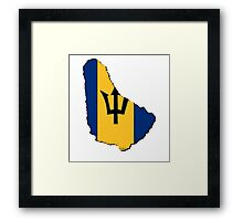 Barbados Map With Barbadian Flag Framed Print
