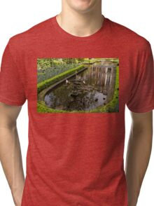 Hidden Tranquility - Beautifully Landscaped Garden with a Fountain Tri-blend T-Shirt