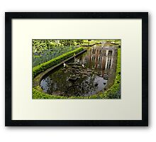 Hidden Tranquility - Beautifully Landscaped Garden with a Fountain Framed Print