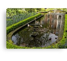 Hidden Tranquility - Beautifully Landscaped Garden with a Fountain Canvas Print
