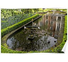 Hidden Tranquility - Beautifully Landscaped Garden with a Fountain Poster