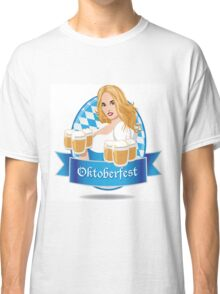 Pretty Bavarian girl with beer, Oktoberfest label with ribbon banner Classic T-Shirt