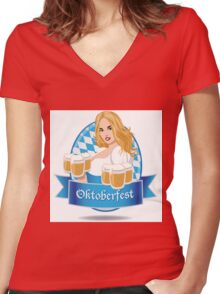 Pretty Bavarian girl with beer, Oktoberfest label with ribbon banner Women's Fitted V-Neck T-Shirt