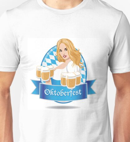 Pretty Bavarian girl with beer, Oktoberfest label with ribbon banner Unisex T-Shirt