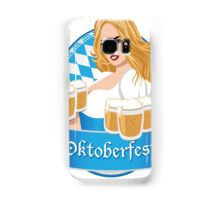 Pretty Bavarian girl with beer, Oktoberfest label with ribbon banner Samsung Galaxy Case/Skin