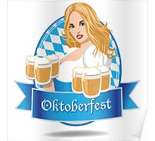 Pretty Bavarian girl with beer, Oktoberfest label with ribbon banner Poster