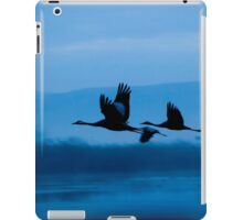 Common crane (Grus grus) Silhouetted at sun-set.  iPad Case/Skin