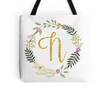 Floral and Gold Initial Monogram N Tote Bag