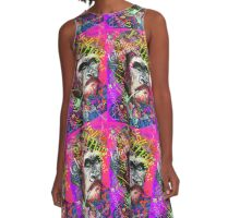 Purple, pink, green street art A-Line Dress