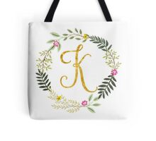Floral and Gold Initial Monogram K Tote Bag