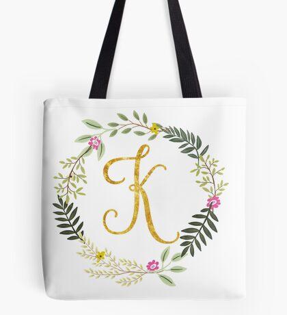 Floral and Gold Initial Monogram K Tote Bag