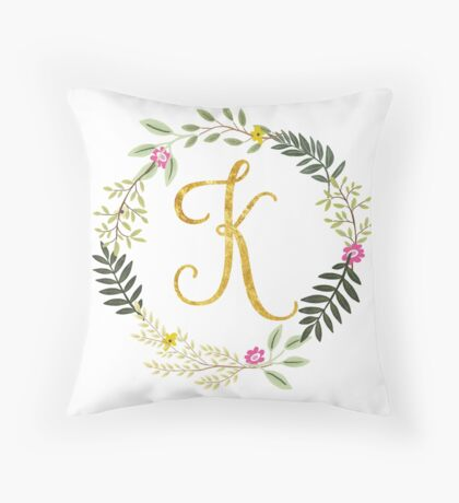 Floral and Gold Initial Monogram K Throw Pillow