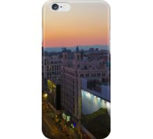 Elevated view of Gran Via, Madrid, Spain at sunset iPhone Case/Skin