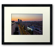 Elevated view of Gran Via, Madrid, Spain at sunset Framed Print