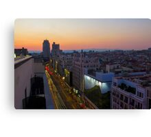 Elevated view of Gran Via, Madrid, Spain at sunset Canvas Print