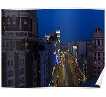 Elevated view of Gran Via, Madrid, Spain at night Poster
