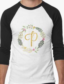 Floral and Gold Initial Monogram P Men's Baseball ¾ T-Shirt