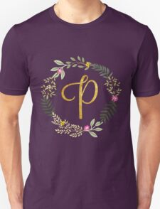 Floral and Gold Initial Monogram P Unisex T-Shirt