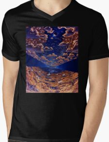 Space Colony Sunset Mens V-Neck T-Shirt