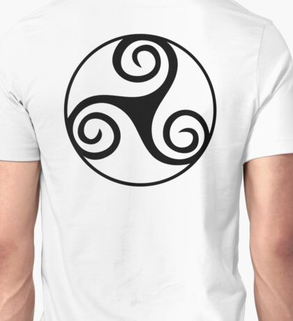 Celtic, tatoo, Triskel, Black, triskelion, triskele, three, legs, Neolithic, Bronze Age, Iron Age, Unisex T-Shirt