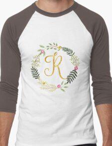 Floral and Gold Initial Monogram R Men's Baseball ¾ T-Shirt