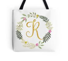 Floral and Gold Initial Monogram R Tote Bag