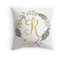 Floral and Gold Initial Monogram R Throw Pillow