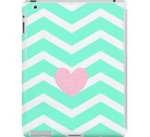 Blue chevron with distressed pink heart  iPad Case/Skin