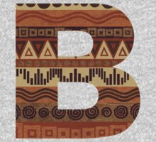 Letter B Leather Look Pattern Tribal Ethnic Monogram Initial One Piece - Long Sleeve