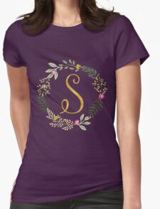 Floral and Gold Initial Monogram S Womens Fitted T-Shirt